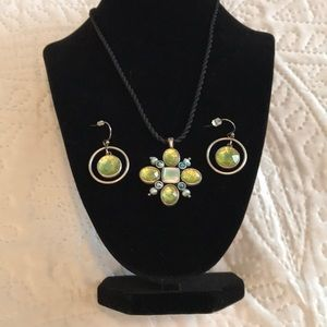 Lia Sophia Jewelry - Genuine Blue Green Necklace & Earring Set